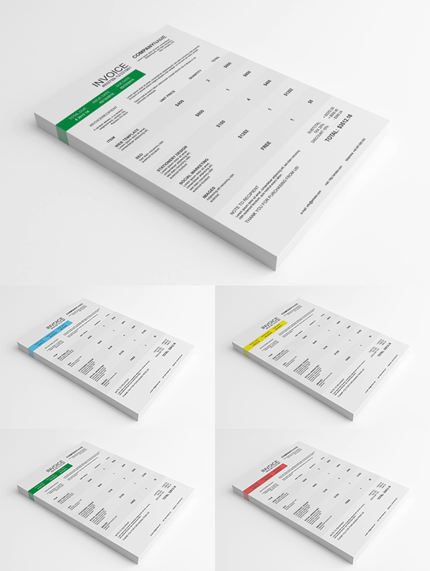 psd clean invoice template